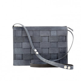 Eduards - Näver Small Leather Shoulder Bag in Oily Navy