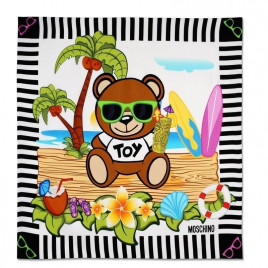 Moschino Toy Bear Island Silk Scarf - Black