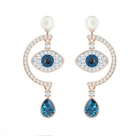 Swarovski Luckily Evil Eye Pierced Earrings, Multi-Coloured, Rose Gold Plating