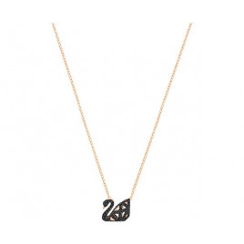 Swarovski Facet Swan Necklace, Black, Mixed Plating