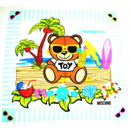 Moschino Toy Bear Island 100% Silk Scarf - Light Blue