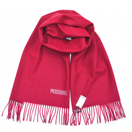 Moschino Diamante Logo Scarf - Deep Red