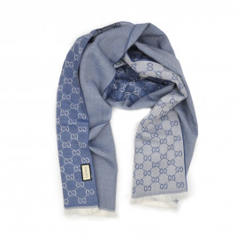 Gucci - Light Blue GG Monogram Half Web Wool Scarf