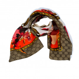 Gucci - Beige/Orange GG Floral Print Silk Scarf