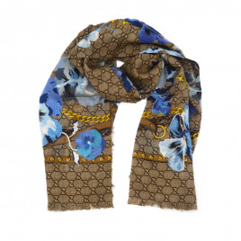Gucci - Beige/Blue GG Floral Print Wool Scarf