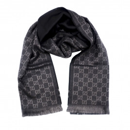 Gucci - Dark Navy GG Monogram Webbing Wool Scarf