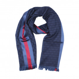 Gucci - Blue GG Monogram Stripe Wool Silk Blend Scarf