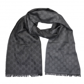 Gucci - Black/Dark Grey GG Monogram Webbing Reversible Wool and Silk Blend Scarf