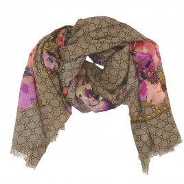 Gucci - Beige/Pink GG Floral Print Wool Scarf