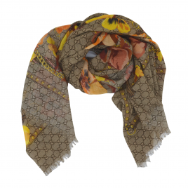 Gucci - Beige/Orange GG Floral Print Wool Scarf