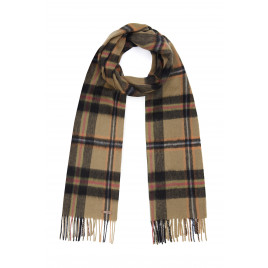 Hortons England -  100% Lambswool Checked Scarf - Black Check