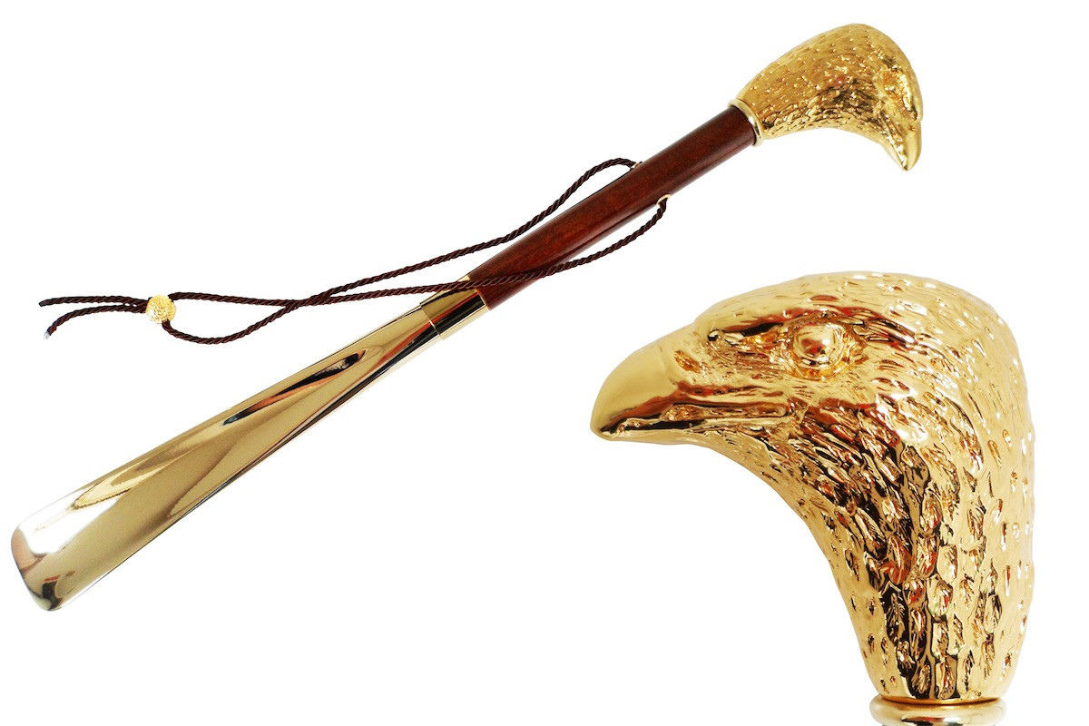 Pasotti Gold Eagle Shoehorn, Brown Wood Shaft Shoehorn