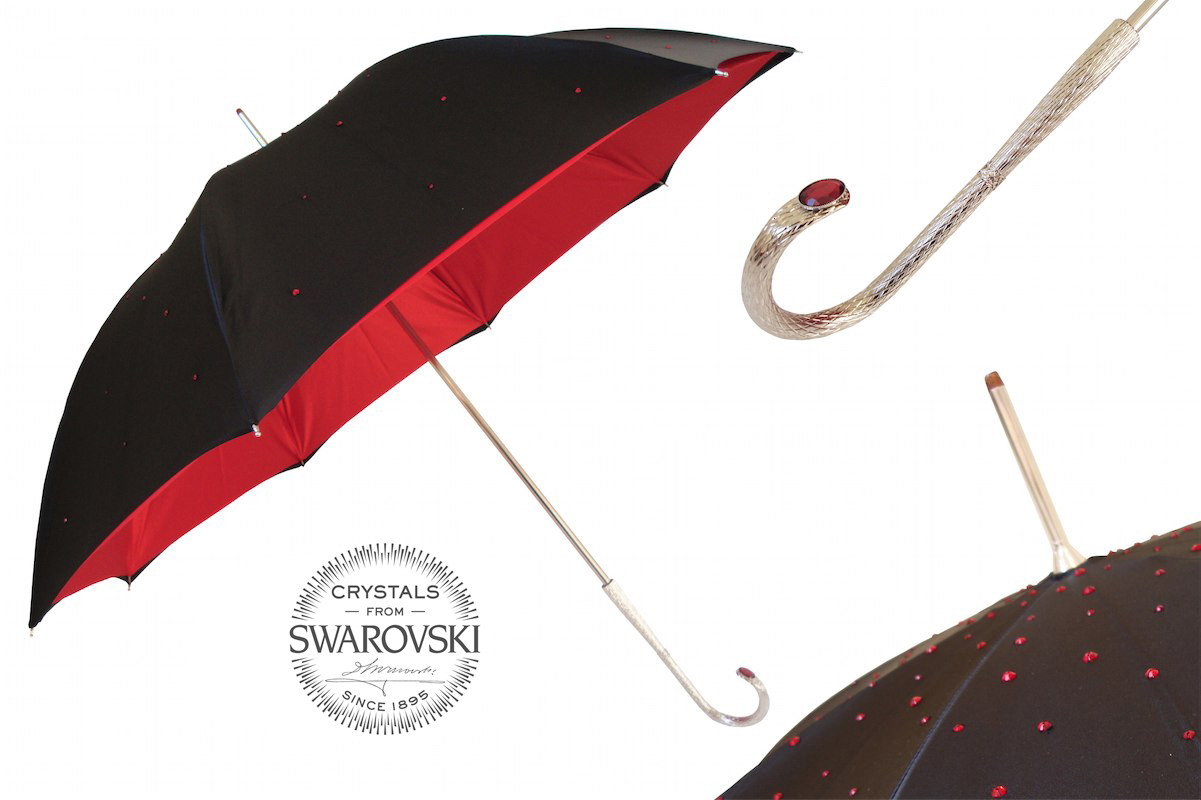 Pasotti Black Swarovski® Umbrella with Red Interior, Double Cloth