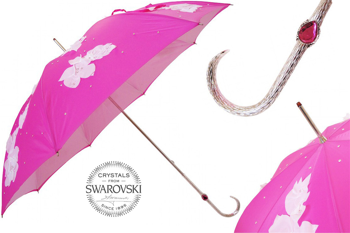 Pasotti Fuchsia Flowered Umbrella with Swarovski® Crystals, Double Cloth