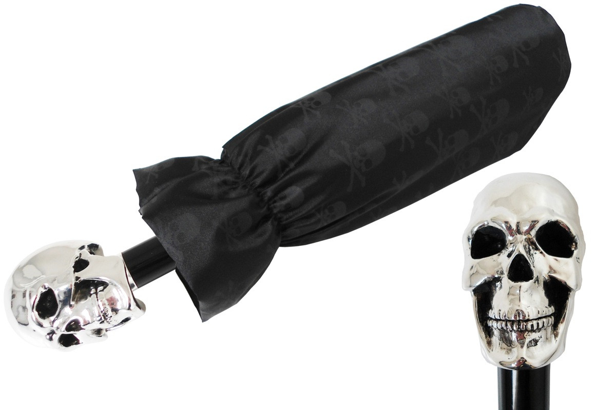 Pasotti Women Silver Skull Umbrella Black