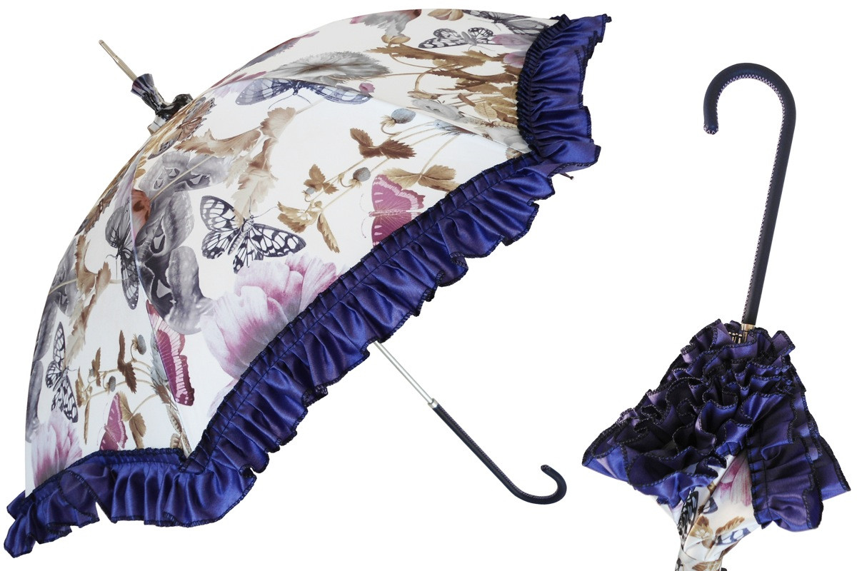 Pasotti Manual Retro-style Butterflies Parasol Rainproof