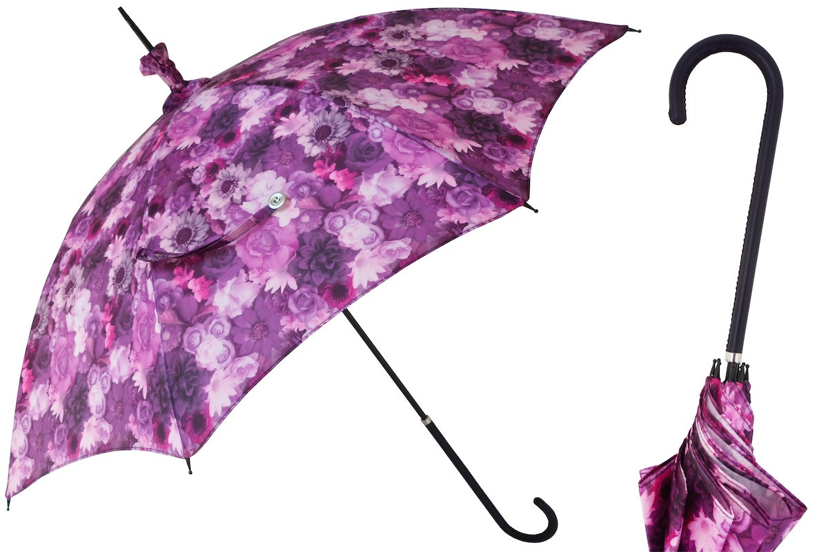 Pasotti Manual Opening Purple Flowers Parasol Rainproof