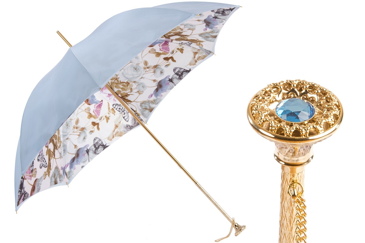 Pasotti Light Blue Nature Umbrella with Butterflies, Double Cloth