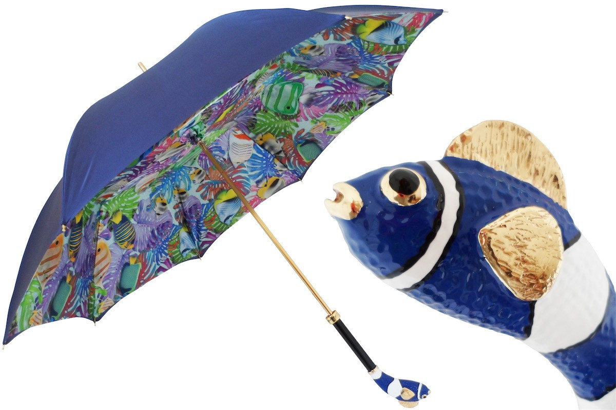 Pasotti Women Blue Fish Awesome Umbrella
