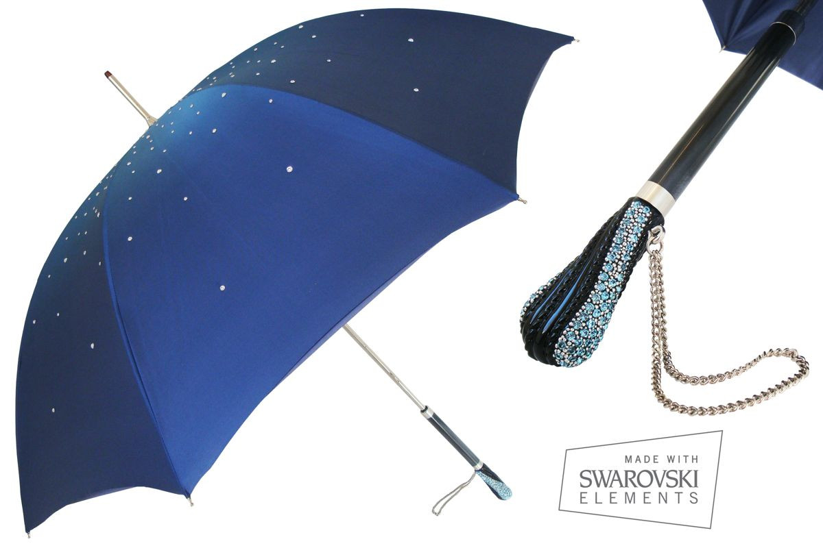 Pasotti Women Manual opening Double cloth Swarovski umbrella Blue