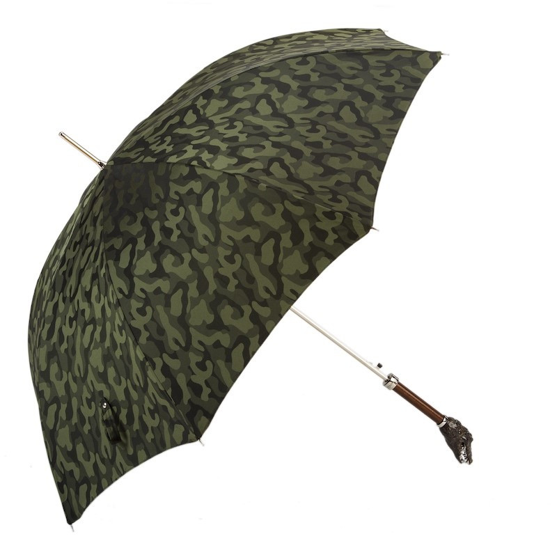 Pasotti Camouflage Print Luxury Umbrella with Crocodile Handle