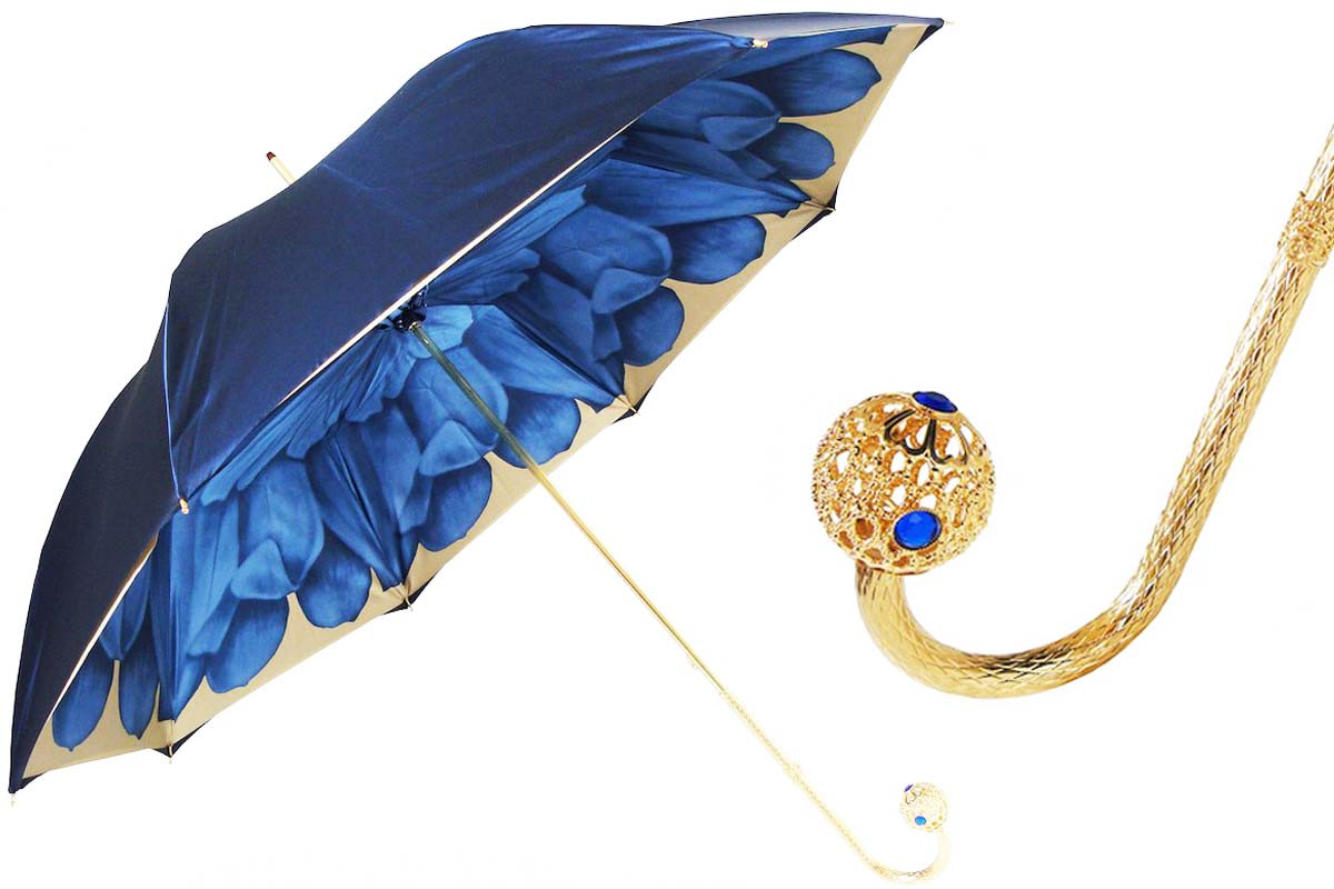 Pasotti Luxury Blue Dahlia Umbrella, Double Cloth