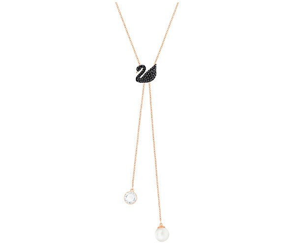 Swarovski Iconic Swan Double Y Necklace - Rose Gold