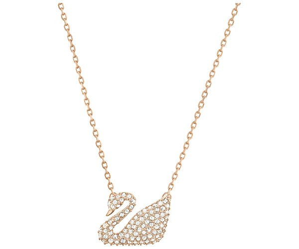 Swarovski Swan Necklace, White, Rose Gold Plating