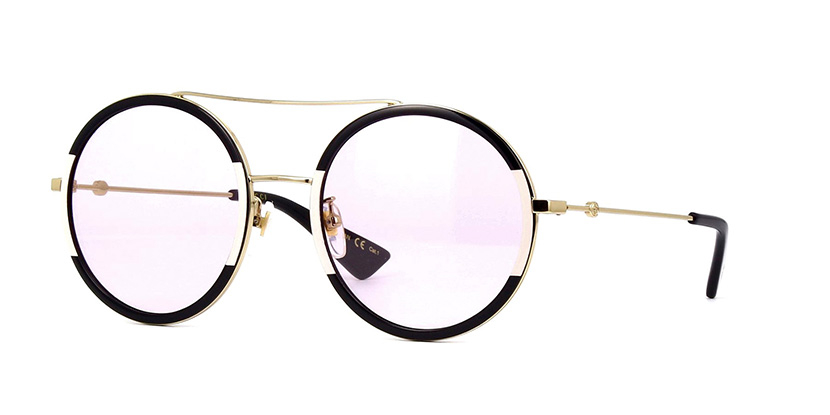 Gucci - GG0061S-006 Round Black and Gold Sunglasses for Women